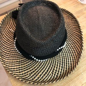 Scala Black & Tan w/Ribbon Western Straw Hat